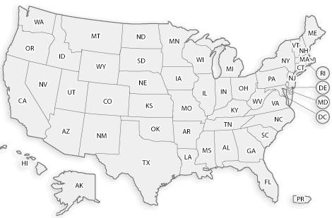 Alabama-2, Arizona-5, Arkansas-3, California-15, Colorado