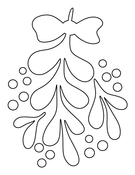 Mistletoe pattern. Use the printable outline for crafts