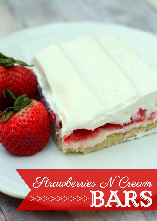Strawberries N Cream Bars with a sugar cookie crust. DELISH!