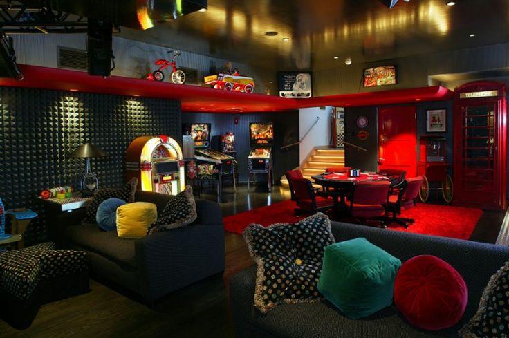 Retro Style 1950s Basement  Game  Media Rooms