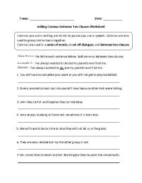 Adding Commas between Two Clauses Worksheet | Englishlinx ...