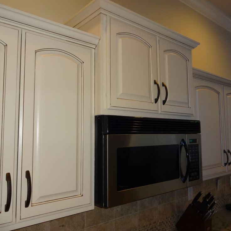 Refinished Kitchen Cabinets Dover White with brown glaze