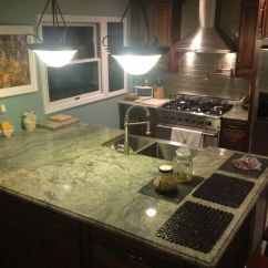 Blue Tile Backsplash Kitchen Newport Brass Faucet Surf Green Granite Countertop | : Reliance And ...