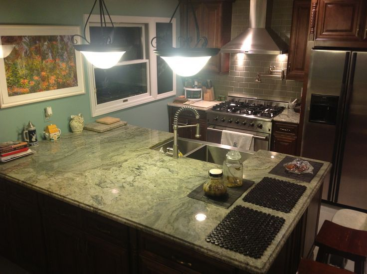 slate backsplash in kitchen cabinets columbus ohio surf green granite countertop | : reliance and ...