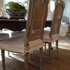 Cover Chairs Wholesale Aluminum Sling White Antique Caned Back Dining Wearing Their New #whitedenim Seat #slipcovers With Mini ...