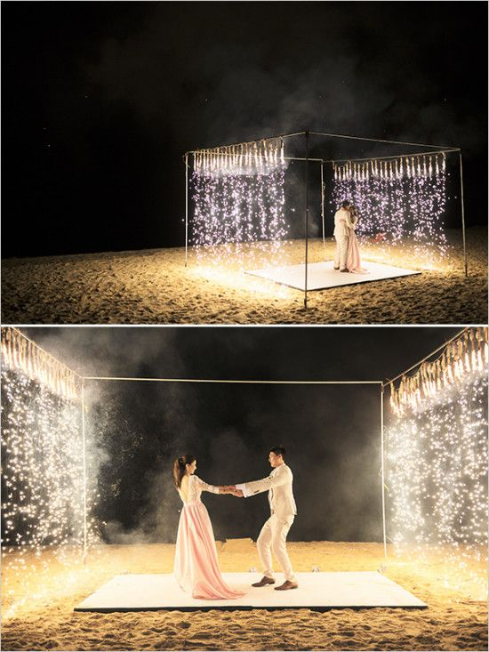 sparkler first dance beach dance floor  Decor  Details