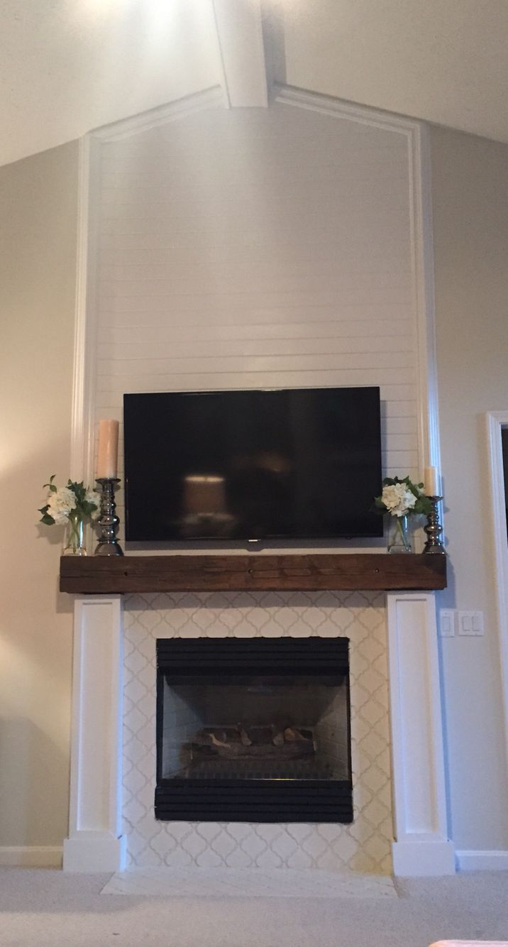 Shiplap Reclaimed Wood Mantle For The Home Pinterest