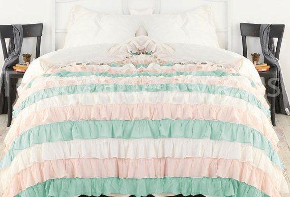 Aqua Pink White Ruffle Bedspread Set 3pc Egyptian Cotton