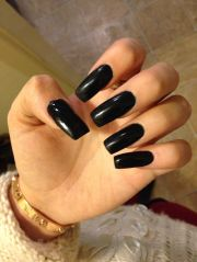 long black acrylic square nails