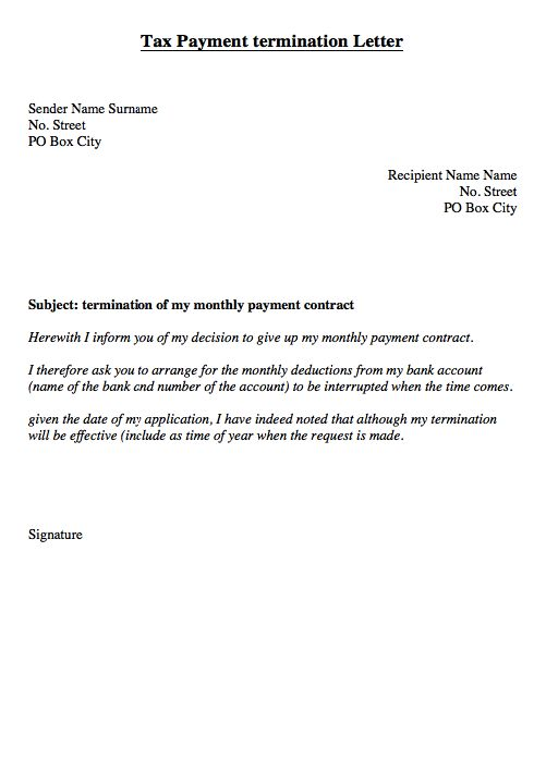tax monthly payment of Termination Letter  http