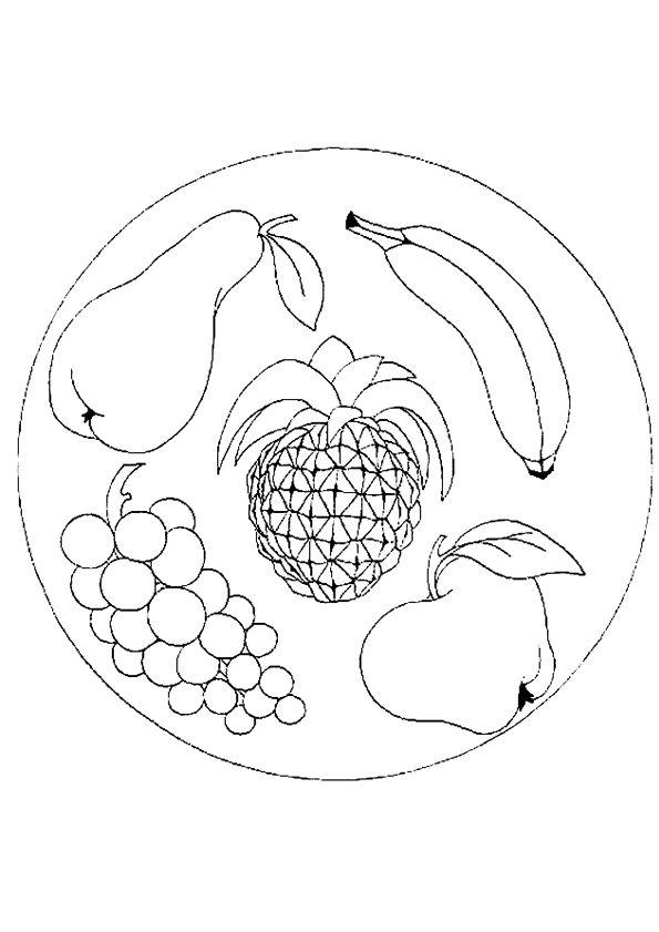 Mandala Avec Des Champignons Des Fruits Et Des Fleurs