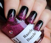 black with hot pink glitter manicure