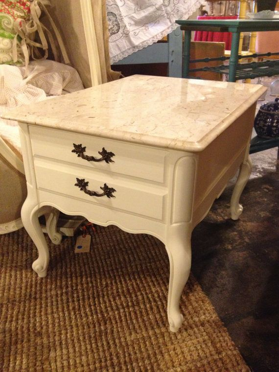 Two Vintage Bassett Furniture Marble Top EndSide by FreshFellas  BabiesNursury  Pinterest
