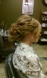 loose curly wedding updo bride