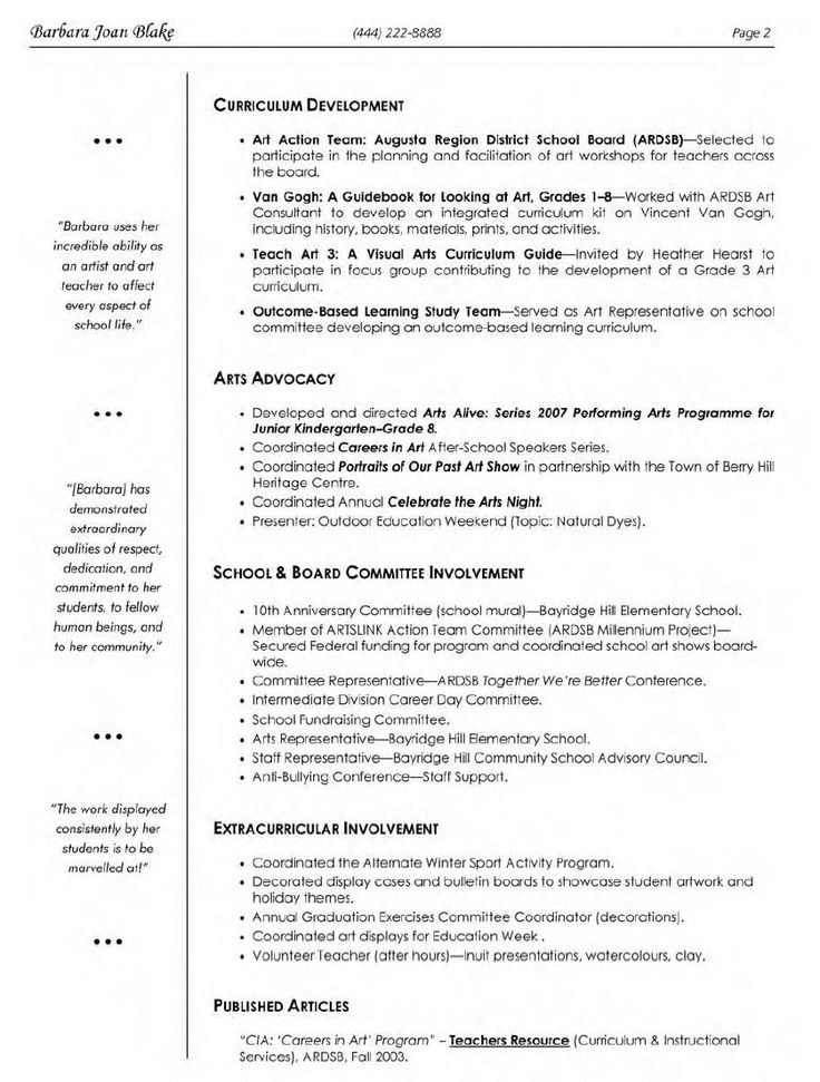 15 best images about Art Teacher Resume Templates on Pinterest  Teacher portfolio Letter