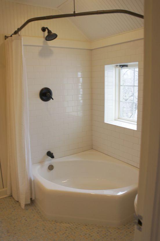 corner tub  corner tub with shower curtain  Round the