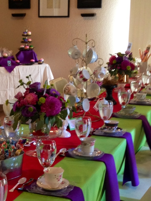 Tea Party Table Scape  fold paper napkins to have the