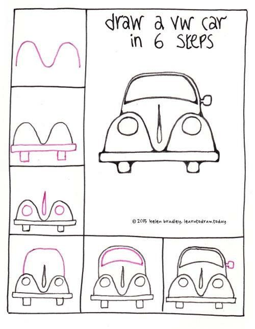 Draw A Vw Beetle Car In 6 Steps Learn To Draw