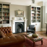 Fireplace Bookshelves And Vaulted Ceiling Design Ideas ...