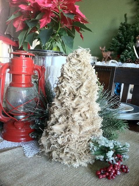 A Wee Meenit Scrappy Burlap Tree DIY Styrofoam Cone