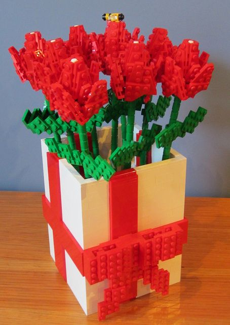 LEGO Flowers by TheBrickMan, via Flickr - Do you see the little LEGO bee? :):