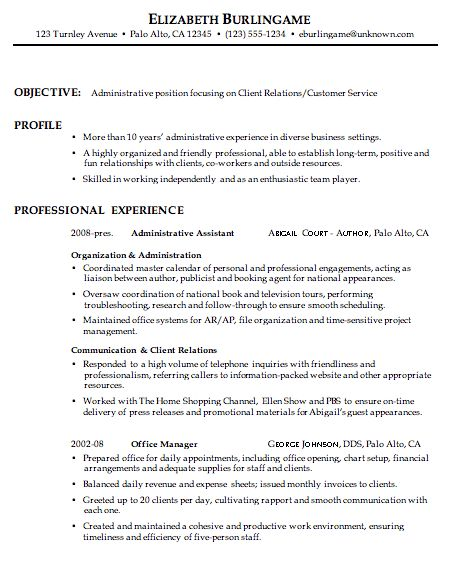 personal assistant resume summary examples