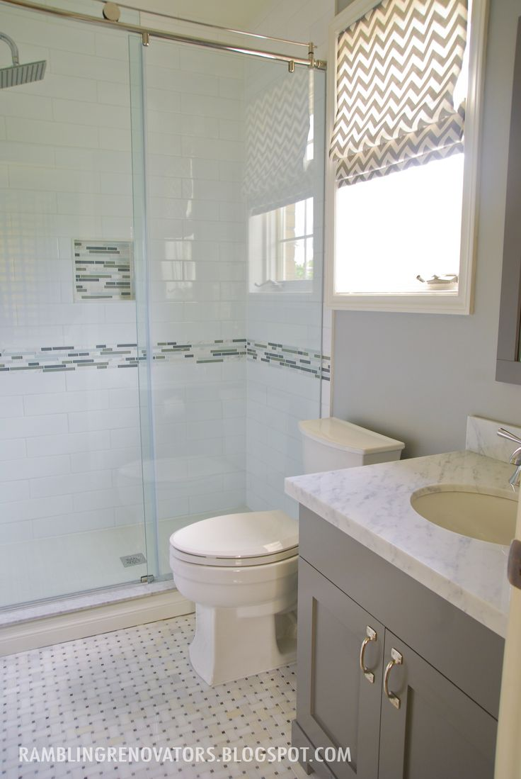 boys bathroom  basketweave  subway tile  grey white