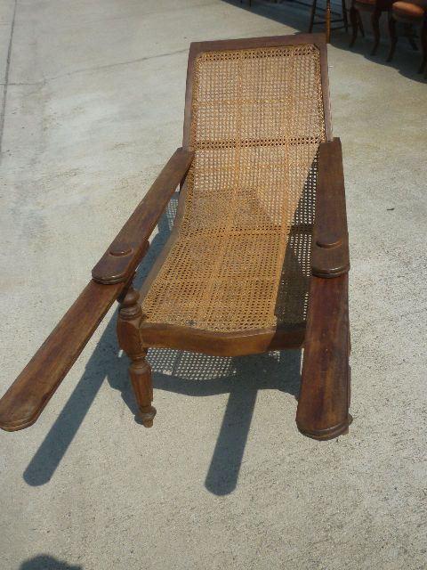 Antique 19th c planters reclining chair chaise teak and