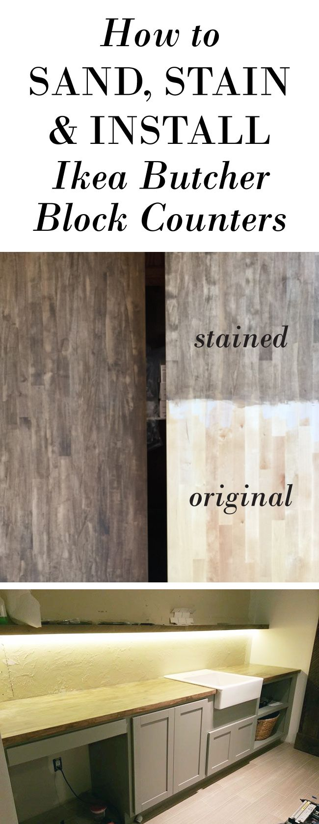 New Laundry Room Cabinets Butcher Block  Farmhouse Sink