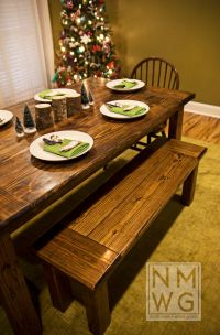 This is a pine farmhouse table stained with Minwax Dark ...