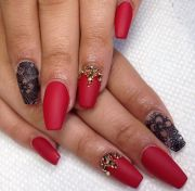 bright red matte nails with awesome