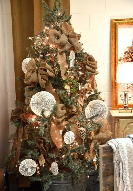 Christmas trees decorated with burlap  Holiday ideas  Pinterest  Christmas trees Burlap bows