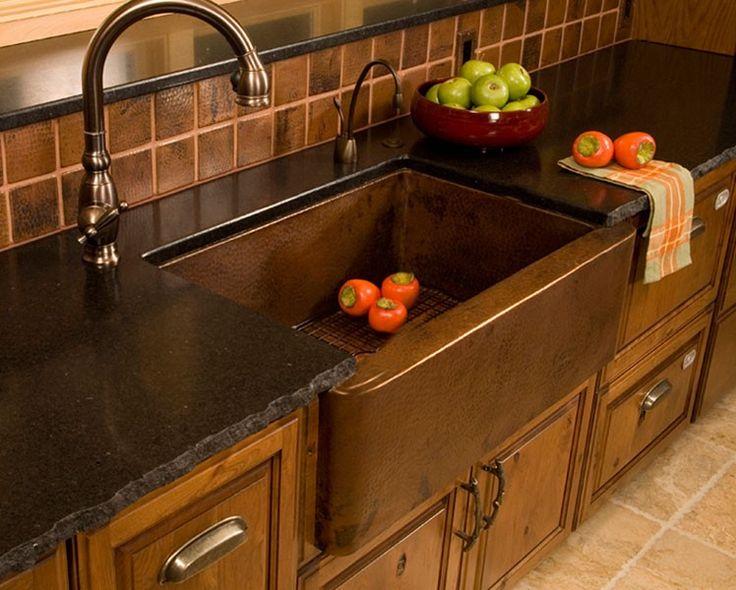 Native Trails CPS73 33 Single Bowl Hammered Copper Farmhouse Kitchen Sink  Copper Kitchen