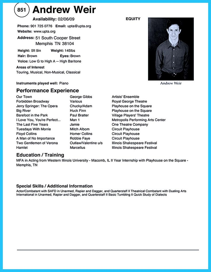 how to write a theatre resumes