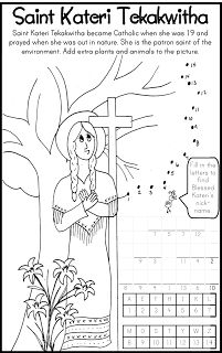 ***FREE*** Saint Kateri Tekakwitha Coloring Page Catholic