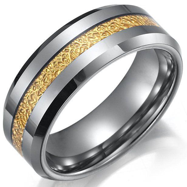 Impressive RNB Mens Tungsten Ring Wedding Band 8mm Gold