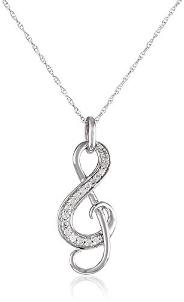 10k White Gold and Diamond Music Note Pendant Necklace (1