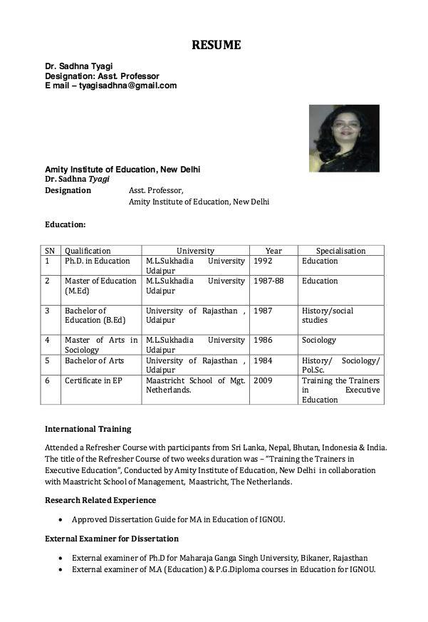 Resume For Assistant Professor Resumesdesign Com