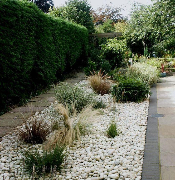 white pebble garden bed
