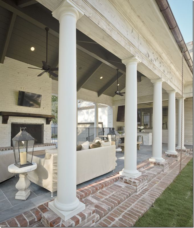 beach house sofa slipcover chair set painted brick, vaulted ceiling and slate/brick floors ...