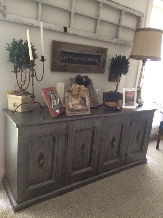 Old Antique side bar dresser  serving buffet  Refinished Grey with a dark grey glaze