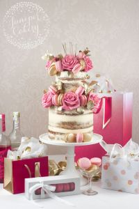 Pink and gold macaron naked cake by Juniper Cakery ...