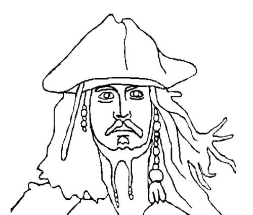 Face Jack Sparrow Pirates Of The Caribbean Coloring Page