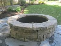 Guillotined Limestone and Fieldstone Drystack Fire Pit ...