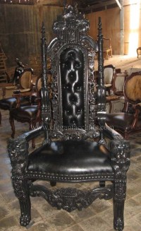 Carved Mahogany King Lion Gothic Throne Chair Black Paint ...