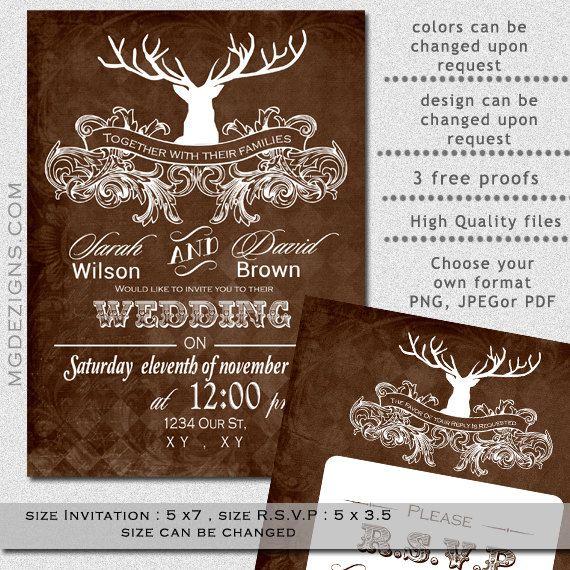 PRINTABLE Wedding Invitation Template Antler Wedding