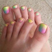 multicolored pastel toenails