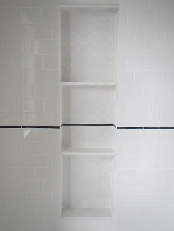 My bathroom reno Shower nichealcove with hexagon tile  marble shelves  as inspired by this