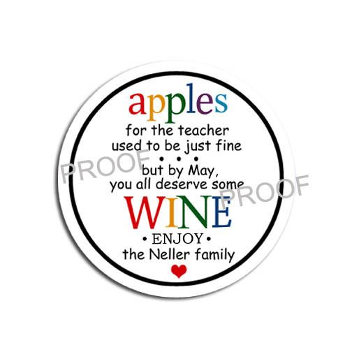 Teacher Appreciation Gift Wine Bottle Label / Apples for
