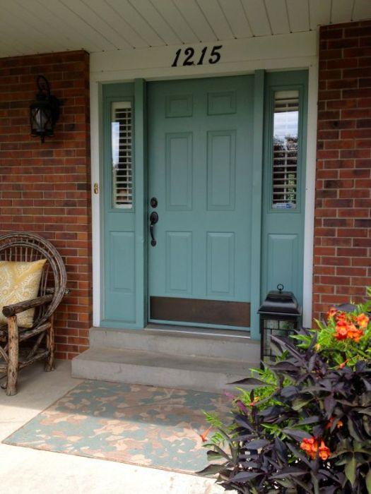Benjamin Moore Mill Springs Blue Door With Brick Painted